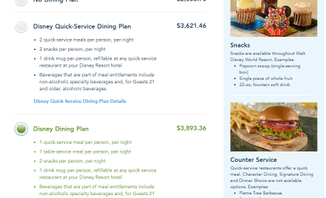 Select a Disney Dining Plan